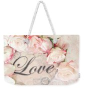 Dreamy Shabby Chic Roses Heart With Love - Love Typography Heart Romantic Cottage Chic Love Prints Weekender Tote Bag