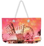 Surreal Hot Pink Orange Carnival Festival Cotton Candy Stand Candy Apples Ferris Wheel Art Weekender Tote Bag