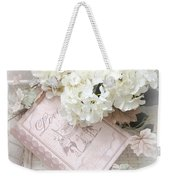 Dreamy Shabby Chic White Hydrangeas On Pink Love Book - Romantic Hydrangeas Love Book Decor Weekender Tote Bag