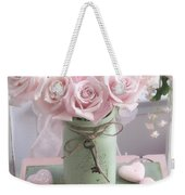 Shabby Chic Pink Roses - Romantic Valentine Roses Hearts Floral Prints Home Decor - Romantic Roses  Weekender Tote Bag