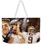Drew Brees New Orleans Saints Quarterback Artwork Weekender Tote Bag