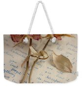 Dried Roses And Vintage Letter Weekender Tote Bag