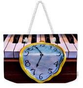 Dripping Clock On Piano Keys Weekender Tote Bag by Garry Gay