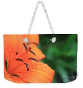 Droplets On Tiger Lily Weekender Tote Bag