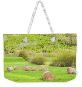 Dry Hay Bales In Spring Farm Field Maine Weekender Tote Bag