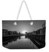Dublin Sunrise - Liffey River In Black And White Weekender Tote Bag