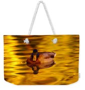Duck On Golden Water Weekender Tote Bag