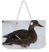 Duck Playing In The Snow Weekender Tote Bag