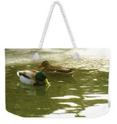 Duck Swimming In A Frozen Lake Weekender Tote Bag