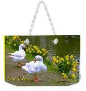 Ducks And Daffodils Greeting Weekender Tote Bag