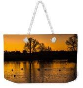 Ducks At Sunrise On Golden Lake Nature Fine Photography Print  Weekender Tote Bag