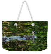 Ducks On Green Reflections - Panorama Weekender Tote Bag