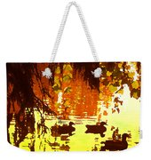 Ducks On Red Lake Weekender Tote Bag
