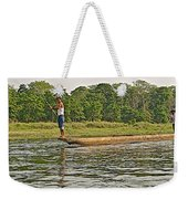Dugout Canoe In The Rapti River In Chitin National Park-nepal Weekender Tote Bag