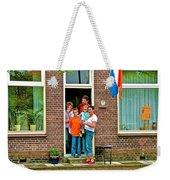 Dutch Family On Orange Day In Enkhuizen-netherlands Weekender Tote Bag
