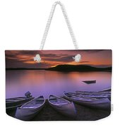 D.wiggett Canoes On Shore, Pink And Weekender Tote Bag