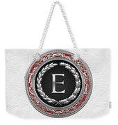 E - Silver Vintage Monogram On White Leather Weekender Tote Bag