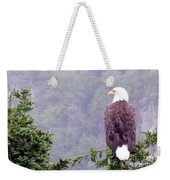 Eagle Looking For Breakfast On A Misty Morning Weekender Tote Bag
