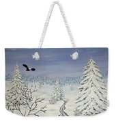 Eagle On Winter Lanscape Weekender Tote Bag