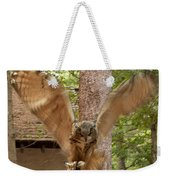 Eagle Owl Makes The Leap Weekender Tote Bag