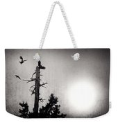 Eagles And Old Tree In Sunset Silhouette Weekender Tote Bag
