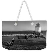 Early Morning At Bug Lighthouse Bw Weekender Tote Bag