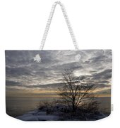 Early Morning Tree Silhouette On Silver Sky Weekender Tote Bag