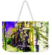 Early Spring Stroll City Streets With Spiral Staircases Art Of Montreal Street Scenes Carole Spandau Weekender Tote Bag