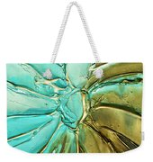 Aqua Teal Brown Organic Abstract Art Weekender Tote Bag