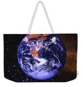 Earth In Space With Gaseous Nebula And Weekender Tote Bag