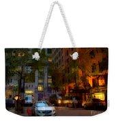 East 44th Street - Rhapsody In Blue And Orange - Close View Weekender Tote Bag