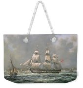 East Indiaman Hcs Thomas Coutts Off The Needles     Isle Of Wight Weekender Tote Bag by Richard Willis