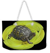 Eastern Box Turtle On Yellow Lily Weekender Tote Bag
