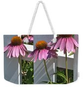Echinacea And A White Picket Fence Weekender Tote Bag