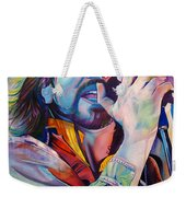 Eddie Vedder In Pink And Blue Weekender Tote Bag by Joshua Morton