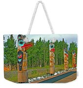 Edward Smarch Totem Poles At Teslin Tlingit Heritage Memorial Center In Teslin-yt Weekender Tote Bag