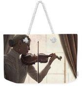 Edwardian Woman Playing Violin At The Window Weekender Tote Bag