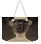 Edwardian Woman With Straw Boater Rear View Weekender Tote Bag