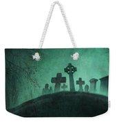 Eerie Graveyard At Night In Fog Weekender Tote Bag