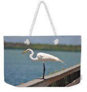 Egret On A Pier Weekender Tote Bag