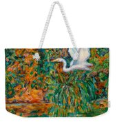Egret Reflections Weekender Tote Bag