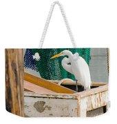 Egret With Fishing Net Weekender Tote Bag