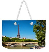 Eiffel Tower And Bridge On Seine River In Paris France Weekender Tote Bag