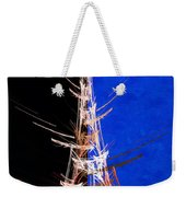 Eiffel Tower In Red On Blue  Abstract  Weekender Tote Bag