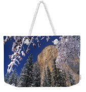 El Capitan Framed By Snow Covered Black Oaks California Weekender Tote Bag