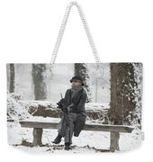 Elegant Woman Sitting On A Bench Weekender Tote Bag