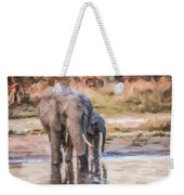 Elephant Mother And Calf Weekender Tote Bag