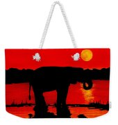 Elephant Silhouette African Sunset Weekender Tote Bag