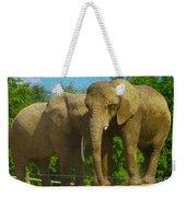Elephant Snuggle Weekender Tote Bag