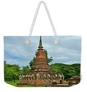 Elephant Stupa At Wat Sarasak In Sukhothai Historical Park-thailand Weekender Tote Bag